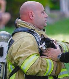 Firefighte Finds and Rescues Cat After House Fire