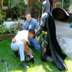 Batman and Captain America Rescue Cat from Burning Home