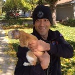 Firefighters rescue cat with head stuck in cup from tree