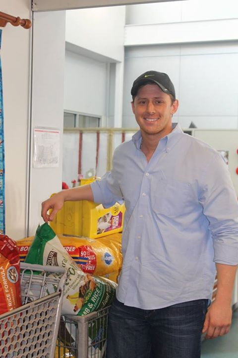 Bryce Vucekovich brings the donated food and supplies purchased with his lottery winnings to the shelter earlier this month. Photos via Dallas Animal Services at Facebook.