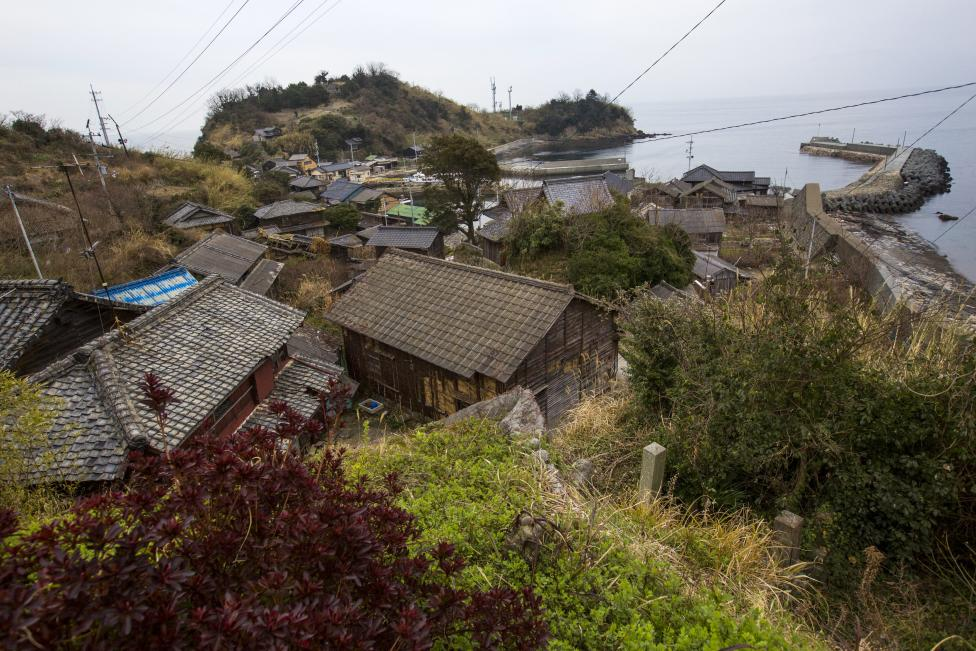 An overview shows the main part of the fishing village on Aoshima Island in Ehime prefecture in southern Japan