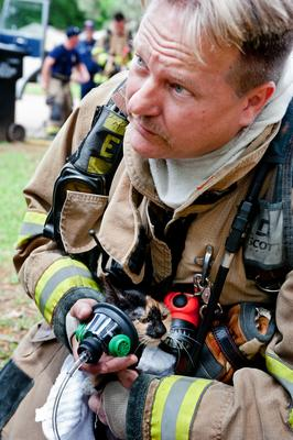 Photos: Firefighters treat cat with pet oxygen mask