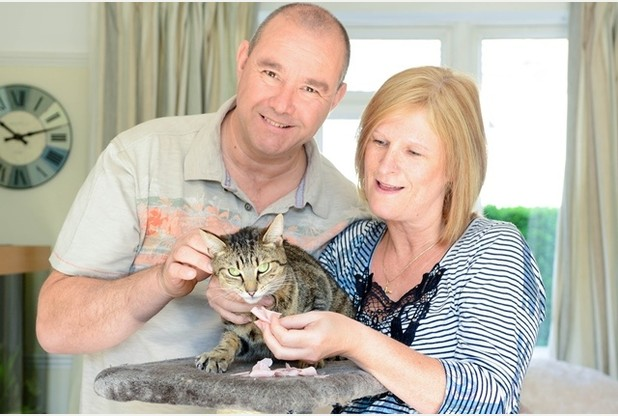Bob the cat was found with a potentially deadly trap on its head. Pictured with his owners Brian Newman and Donna Newman.   Picture: Eloisa Wildsmith 23-05-15