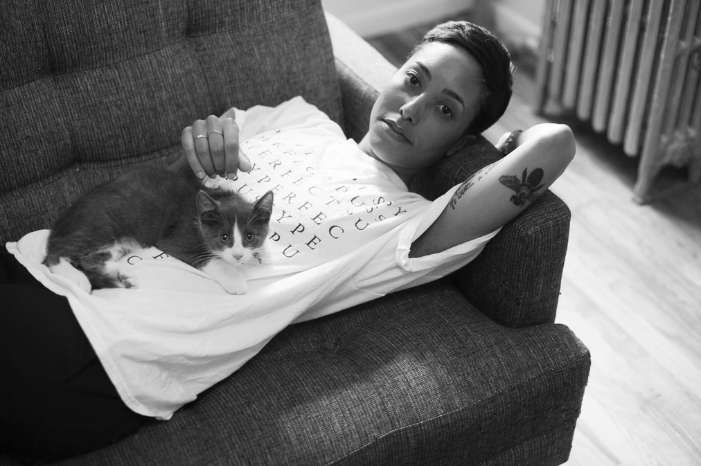 Girls and Their Cats Kia and bb Jordi JPG
